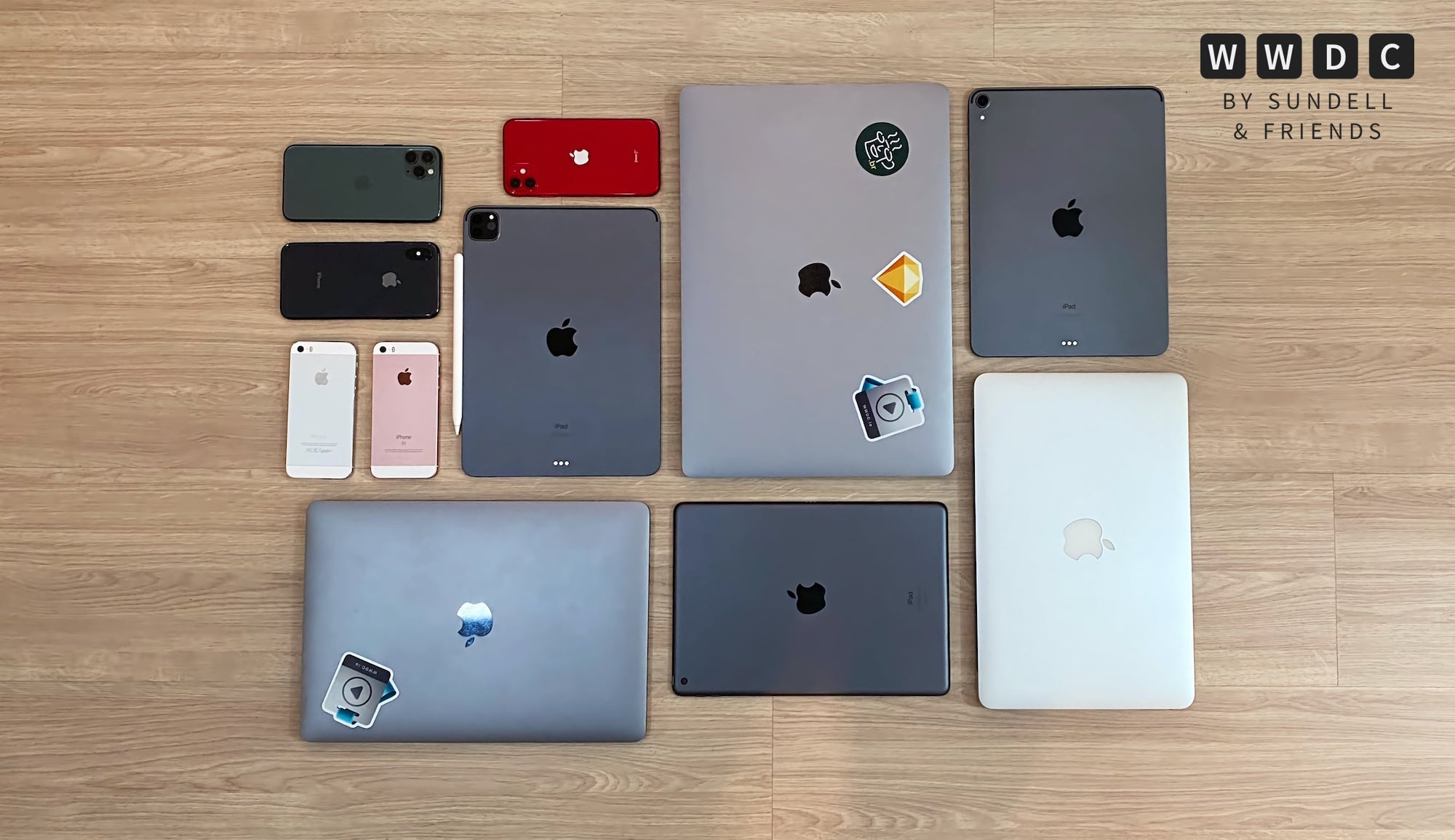 A lot of Apple devices in a grid, shot from above
