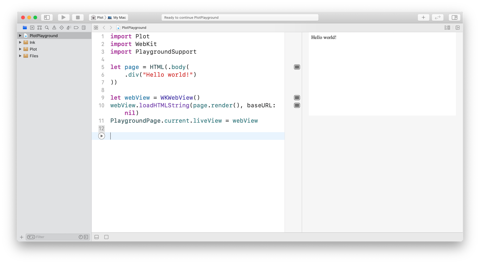 Screenshot of  importing a Swift packages into a playground