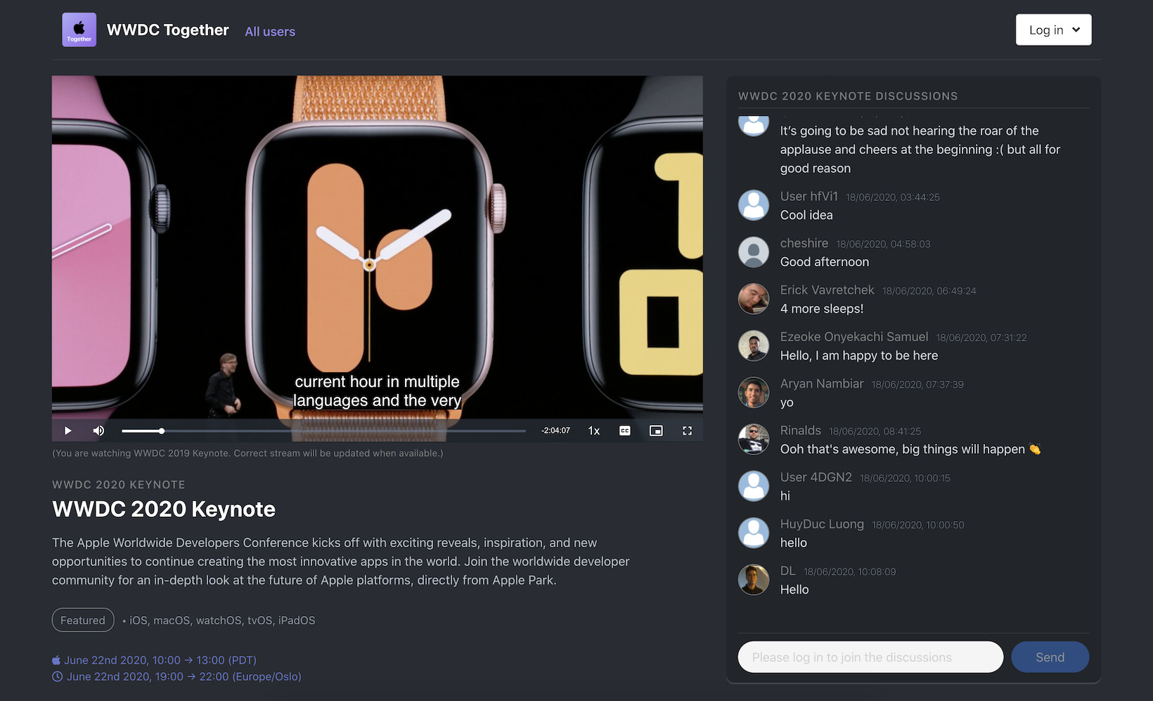 Screenshot of WWDC Together
